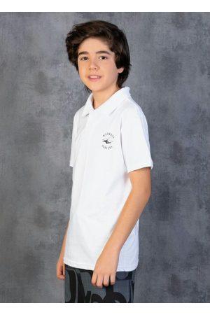 Nicoboco Menino Camisa Pólo - Camisa Polo Juvenil Branca com Mangas Curtas
