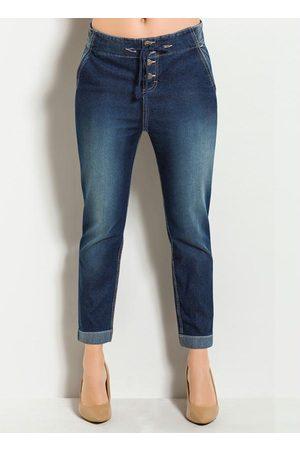 Janine Mulher Calça Boyfriend - Calça Boyfriend Jeans Escuro com Botões