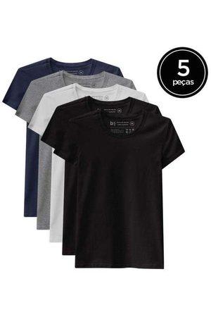 Basicamente Kit de 5 Camisetas Babylook Básicas de Várias Core