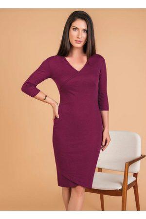 QUEIMA ESTOQUE Vestido em Ribana Púrpura Moda Evangélica