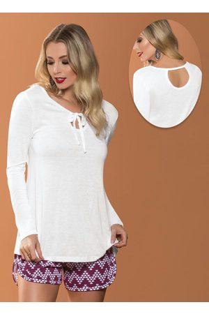 MODA POP Blusa Branca com Amarração Frontal