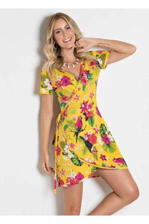 QUEIMA ESTOQUE Mulher Vestido Estampado - Vestido Floral e com Transpasse