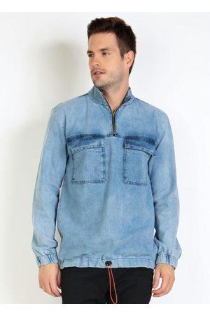 Actual Homem Jaqueta Jeans - Casaco Anorak Jeans com Elastico na Cintura