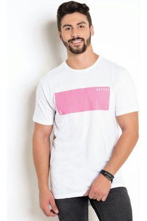 QUEIMA ESTOQUE Camiseta BrancaLong Line com Estampa Neon