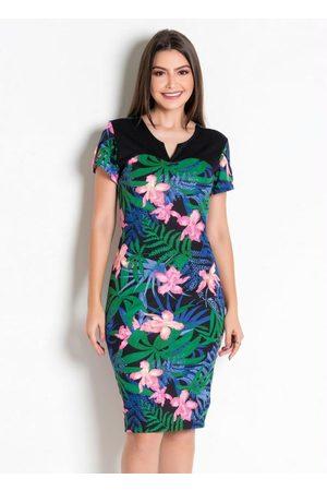 QUEIMA ESTOQUE Vestido Tubinho Floral Moda Evangélica