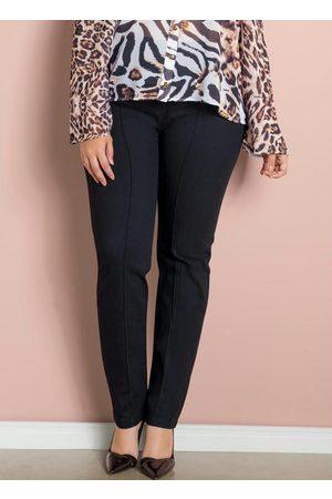 Quintess Mulher Calça Skinny - Calça Skinny Preta com Botões Plus Size