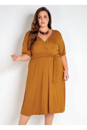 Mink Mulher Vestido Médio - Vestido Plus Size com Amarração