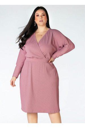 Mink Mulher Vestido Médio - Vestido Canelado Plus Size Rosê