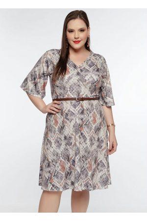 Mink Mulher Vestidos - Vestido Plus Size EstampadoPiton