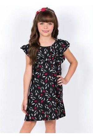 QUEIMA ESTOQUE Menina Vestido de Festa - Vestido Infantil com Babado no Decote Floral