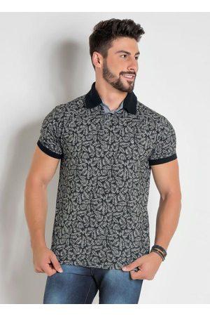 Actual Homem Camisa Formal - Camisa Polo Folhagem com Detalhes em
