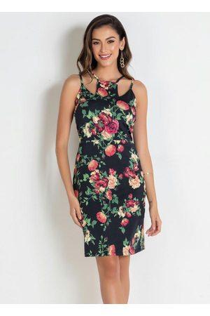 QUEIMA ESTOQUE Vestido Floral com Decote Único