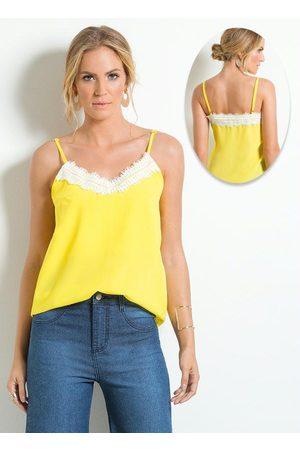 Multimarcas Blusa Amarela com Detalhe de Renda