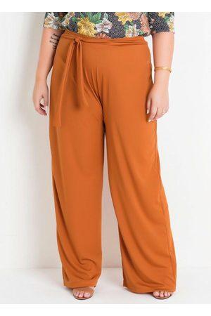 Marguerite Calça Pantalona Caramelo com Amarração Plus Size