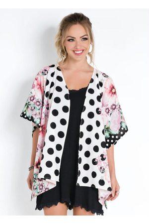 QUINTESS Kimono Floral Poá Amplo com Abertura Lateral