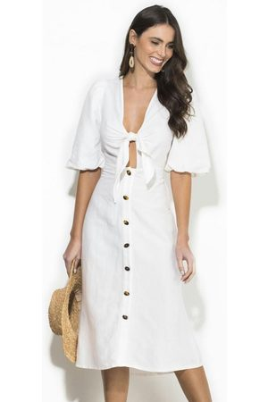 Forum Mulher Vestido Médio - Vestido Midi Linho Off White