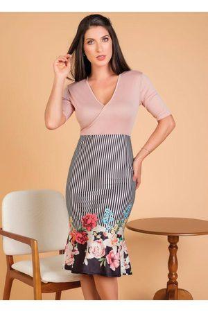 ROSALIE Vestido Transpassado Floral Moda Evangélica