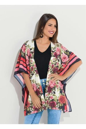 QUINTESS Kimono Floral Amplo com Abertura Lateral