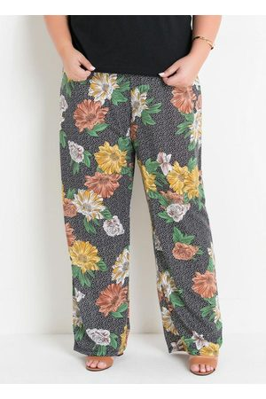 Marguerite Calça Pantalona Floral Poá Plus Size