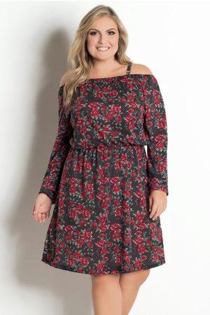 Marguerite Mulher Vestido Estampado - Vestido Curto Floral Dark e Poá Plus Size