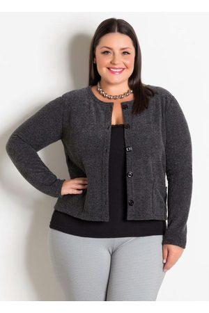 Marguerite Mulher Bolero - Casaqueto Chumbo com Botões e Bolsos Plus Size