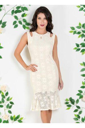 ROSALIE Mulher Vestido Médio - Vestido em Renda com Vazados e Babado Off White