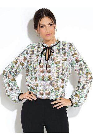 QUINTESS Blusa Estampa Selo com Babado no Decote