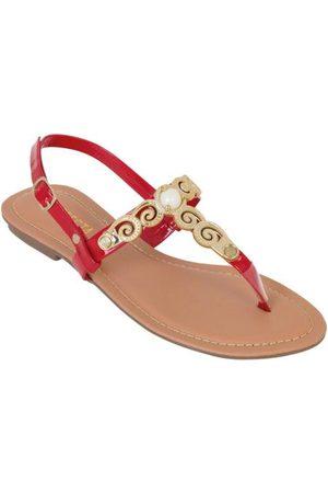 QUEIMA ESTOQUE Mulher Sandálias - Rasteirinha Vermelha com Detalhe Dourado