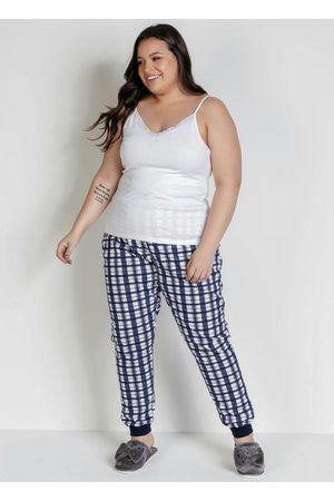 Alma Dolce Pijama de Alças Finas e Calça Branco e Xadrez