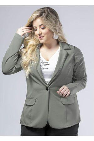 Donna Peck Mulher Blazer - Blazer com Botão na Frente