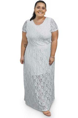 Miss Masy Plus Mulher Vestido Longo - Vestido Longo com Renda