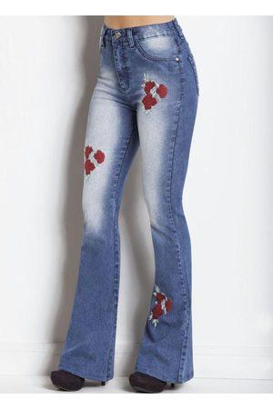 Janine Mulher Calça Flare - Calça Flare Jeans Claro com Bordados