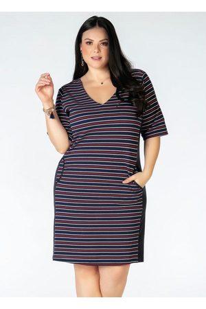 Mink Mulher Vestido Estampado - Vestido Plus Size Listrado