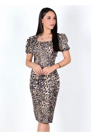 MODA POP Mulher Vestido Médio - Vestido Midi Onça com Mangas Bufantes