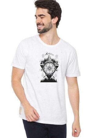 Eco Canyon Homem Manga Curta - Camiseta Masculina Bússola Branca White