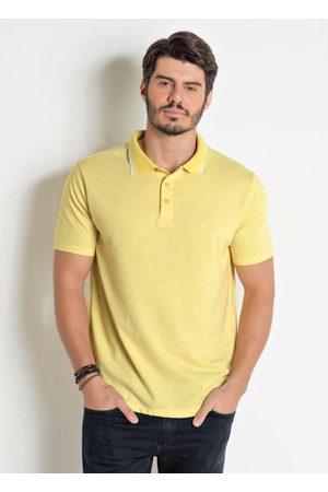 Actual Homem Camisa Formal - Camisa Polo Amarela com Detalhe em Branco