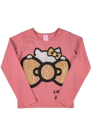 Hello Kitty Blusa Manga Longa Laço
