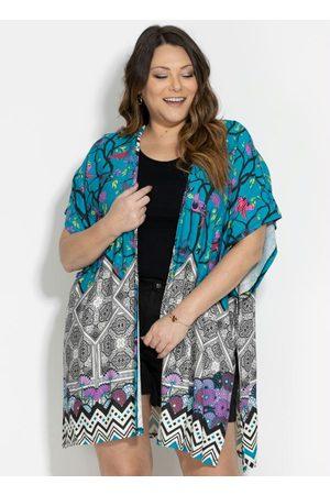 QUINTESS Kimono Barrado Verde Fenda Plus Size