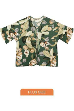 Secret Glam Mulher Camisa Manga Curta - Camisa Plus Size de Viscose