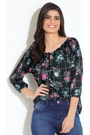 Quintess Mulher Blusa - Blusa Floral Preta com Amarração