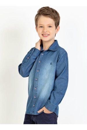 Actual Menino Camisa Jeans - Camisa Infantil Jeans Manga Longa com Spray