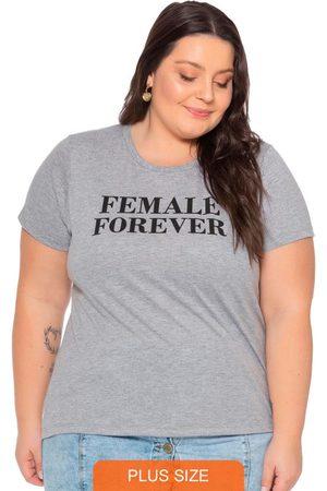 Miss Masy Plus T-Shirt Feminina em Meia Malha com Escrita