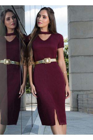 ROSALIE Vestido Gola Choker Bordô Moda Evangélica