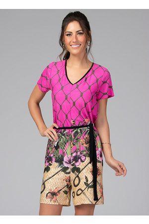 QUINTESS Macaquinho com Faixa na Cintura Tropical Pink