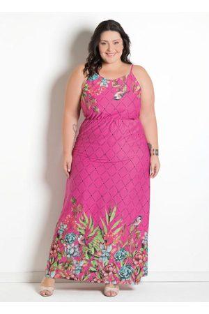 Marguerite Mulher Vestido Estampado - Vestido Longo Estampa Barrada Plus Size Floral