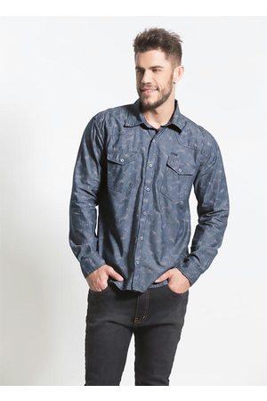 Actual Homem Camisa Casual - Camisa Jeans Estampada Bolsos Frontais