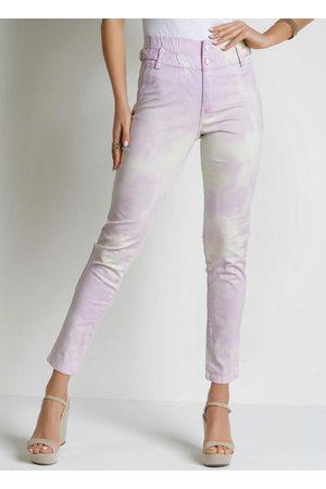 Sawary Jeans Mulher Calça de Alfataria - Calça Tie Dye Roxa Jogger com Fivela Sawary