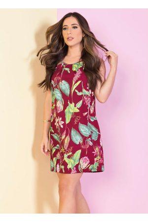 MODA POP Mulher Vestido Estampado - Vestido de Alças Floral Evasê