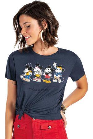 Disney Mulher Manga Curta - Blusa em Viscose Estampada