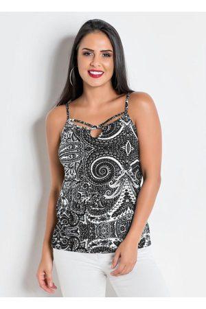 QUEIMA ESTOQUE Mulher Blusa - Blusa de Alça Paisley com Gota e Tiras no Decote